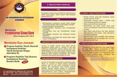 Brosur Penerimaan Siswa Baru SMK Muhammadiyah Batusangkar