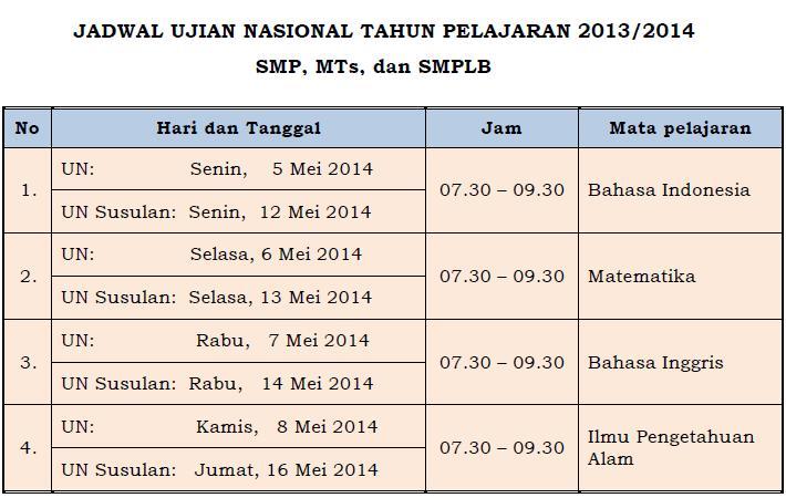 Jadwal Ujian Nasional Tahun Pelajaran 2013 2014
