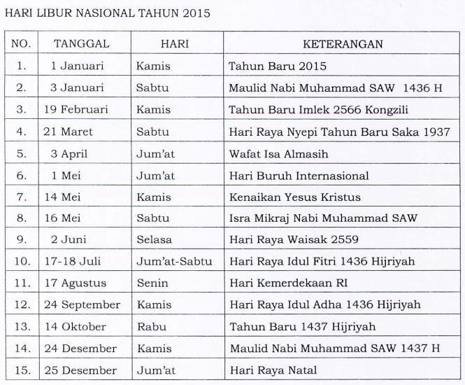 Skb Hari Libur Nasional Dan Cuti Bersama Tahun 2014 | Review Ebooks