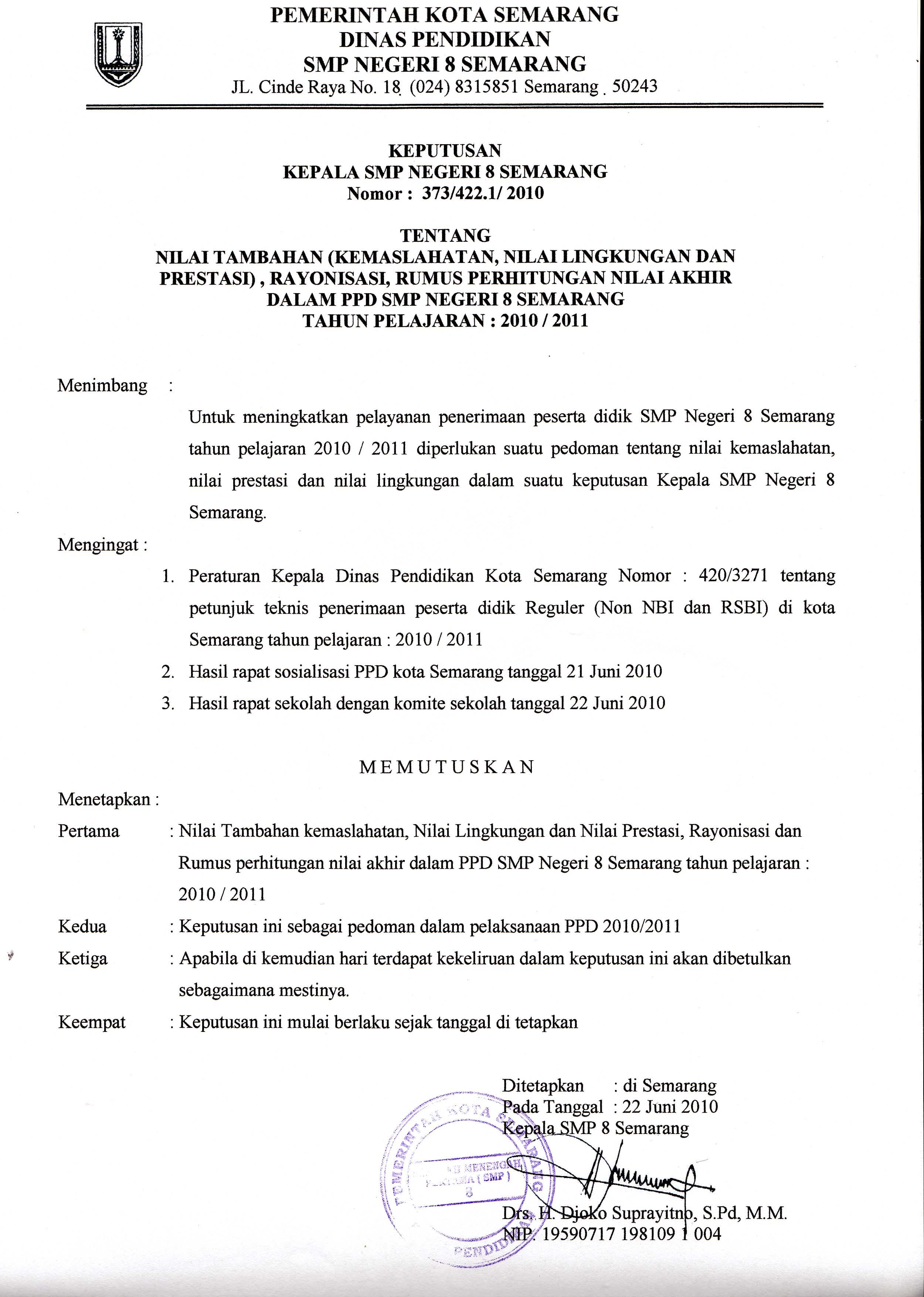 Keputusan Kepala Sekolah Tentang Nilai Tambahan Smp Negeri