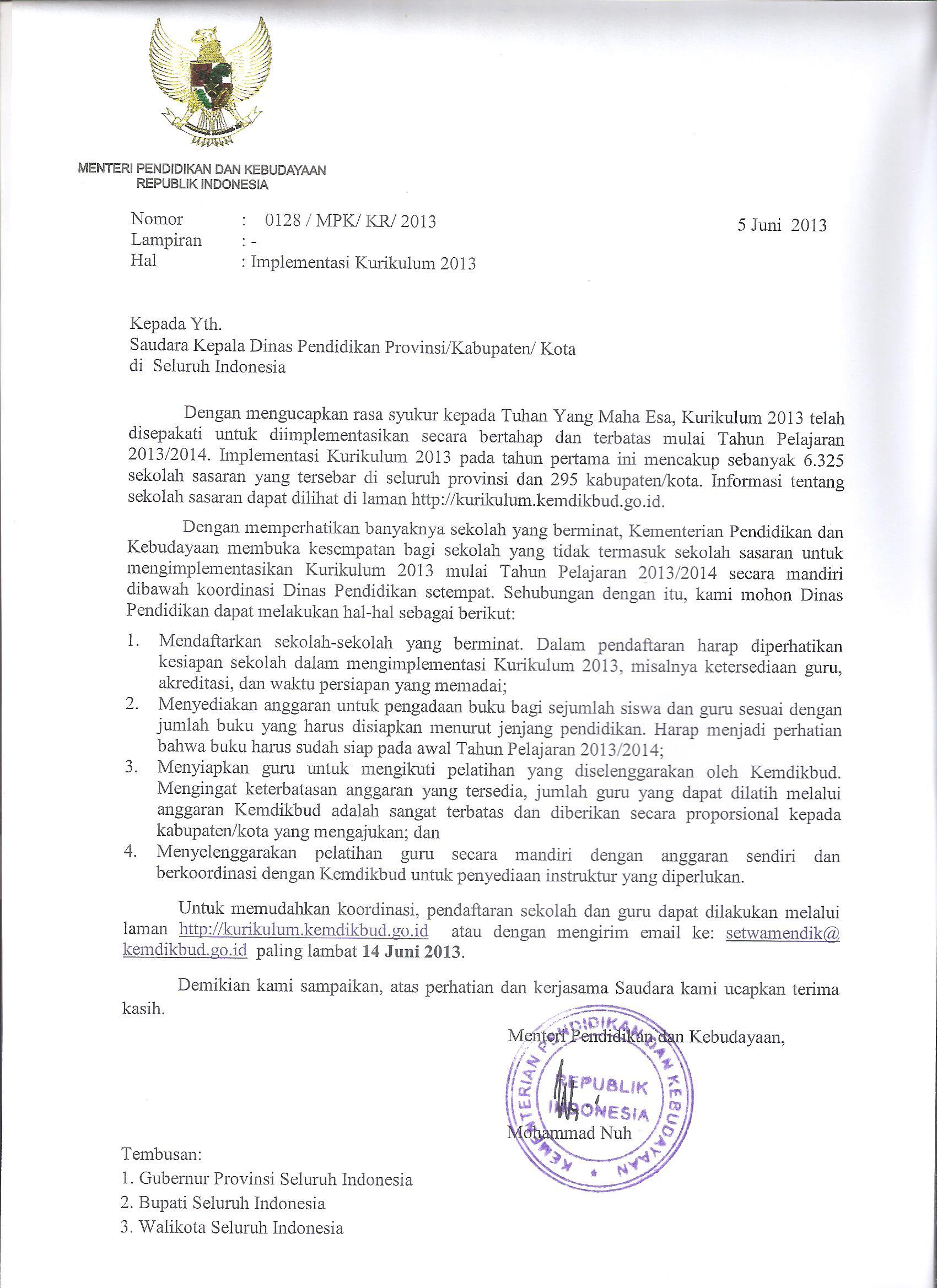 Surat Mendikbud Tentang Implementasi Kurikulum 2013 Sman 1